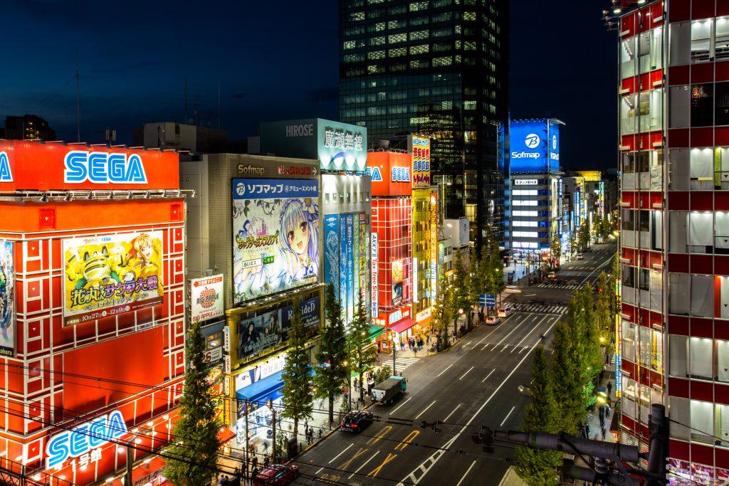 Rooftopping in Akihabara at night in Tokyo, Japan
