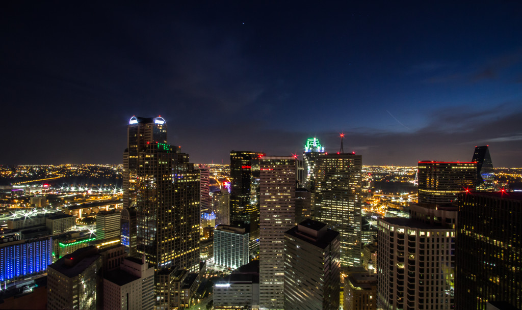 Dallas skyline at night taken from a roof.