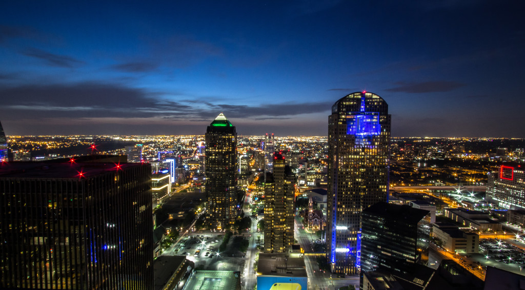 An image of downtown Dallas taken at night while rooftopping.
