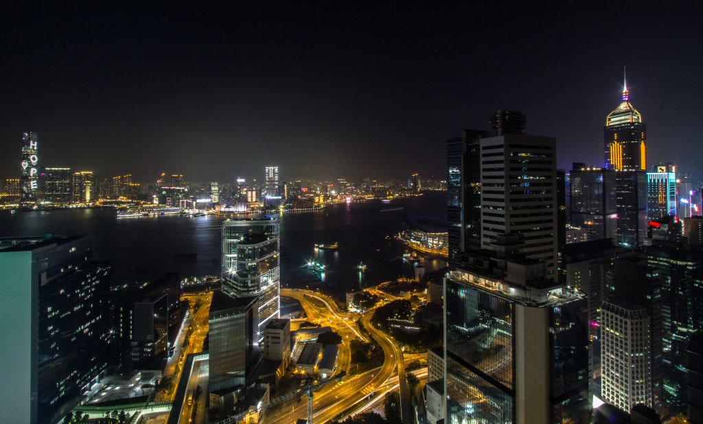 Rooftopping in Hong Kong; view of the city at night