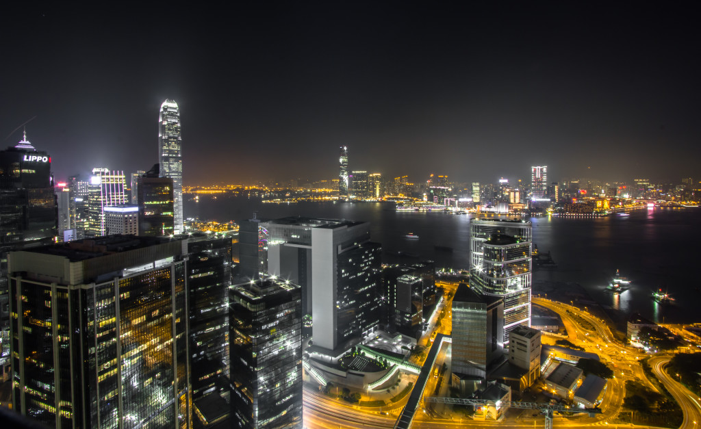 Rooftopping in Hong Kong; view of city at night