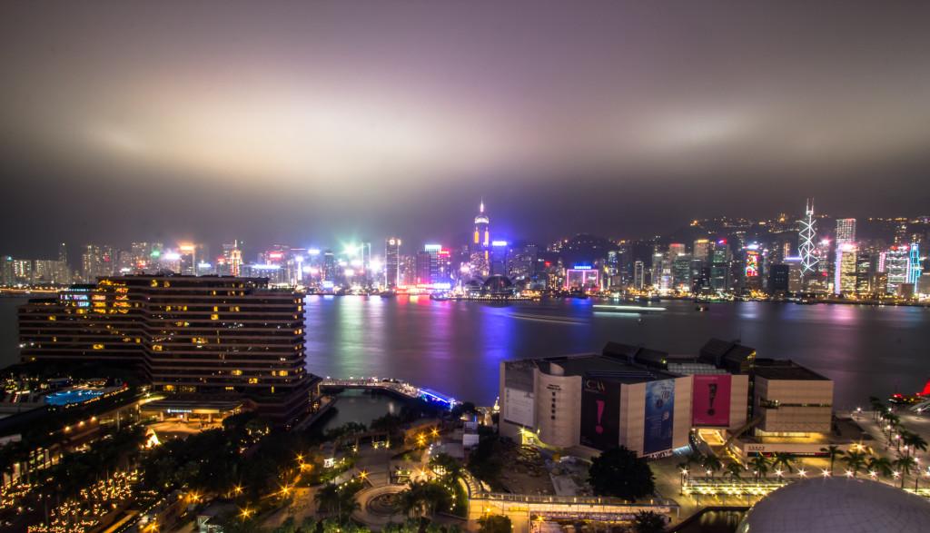 View of Hong Kong bay taken at night while rooftopping