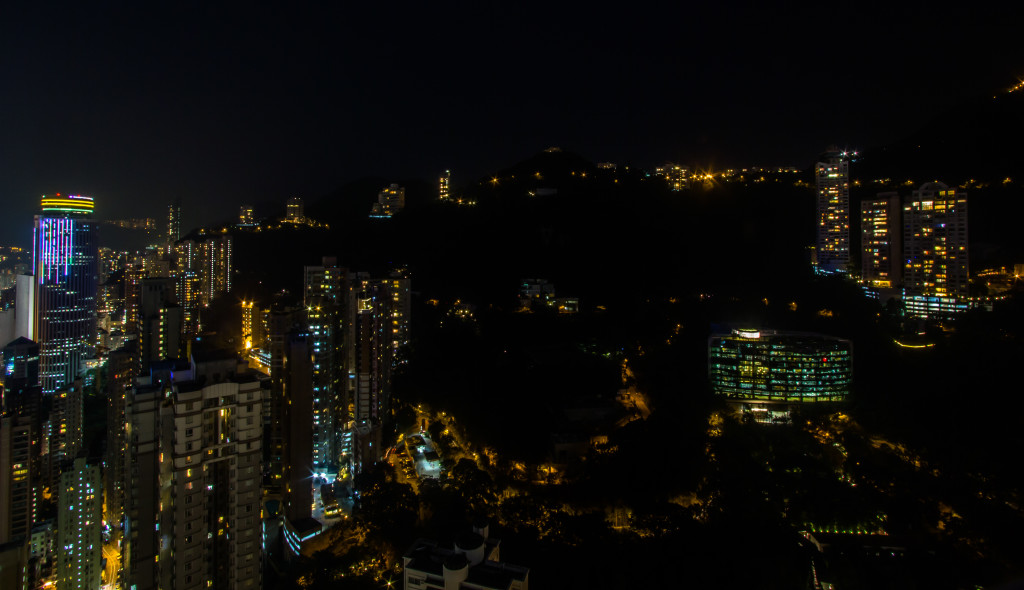 Image of The Peak, in Hong Kong, taken while rooftopping at night