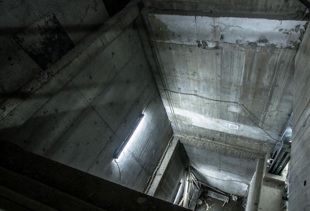 Shaft underground leading to a portion of the Hong Kong Metro under construction.