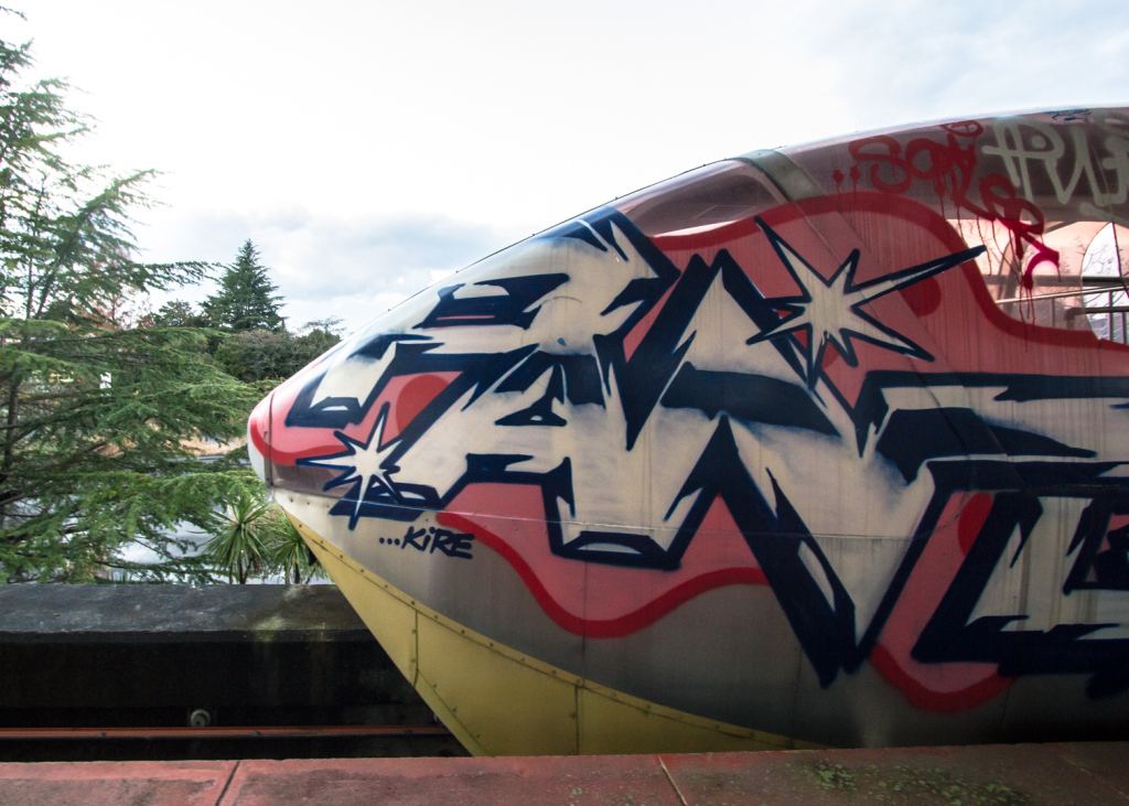 An image of the front section of the train at Nara Dreamland, covered in graffiti
