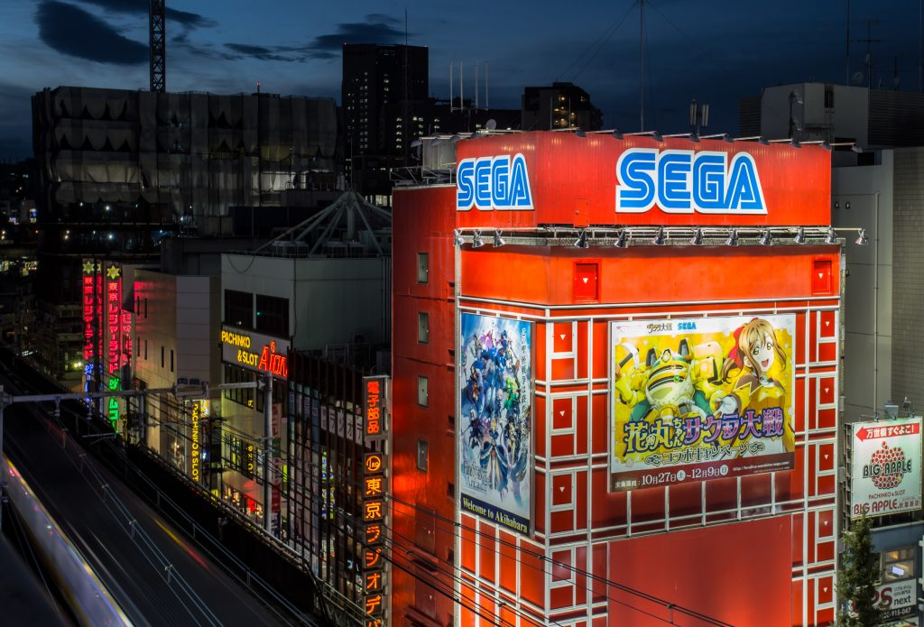 Sega Building photographed at night in Akihabara while rooftopping