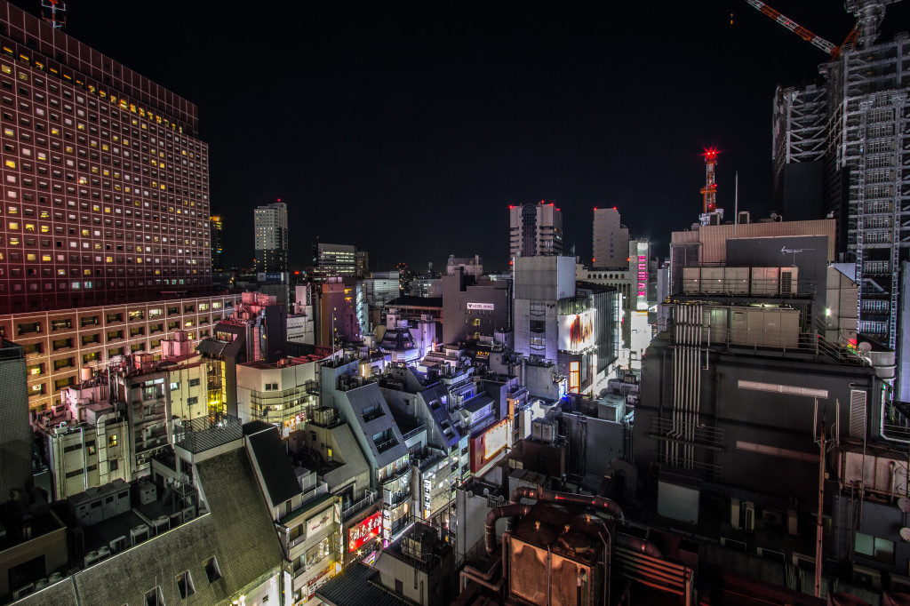 Buildings at night in Shinjuku