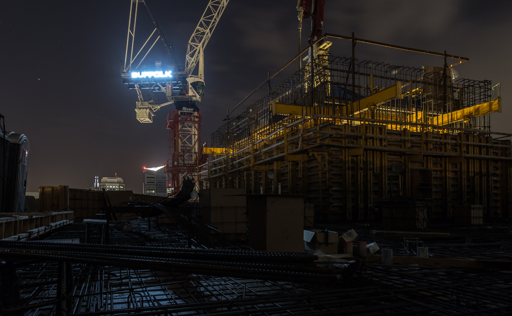 San Francisco construction site roof at night