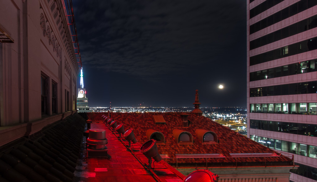 Rooftop view in downtown Dallas, TX; taken at night