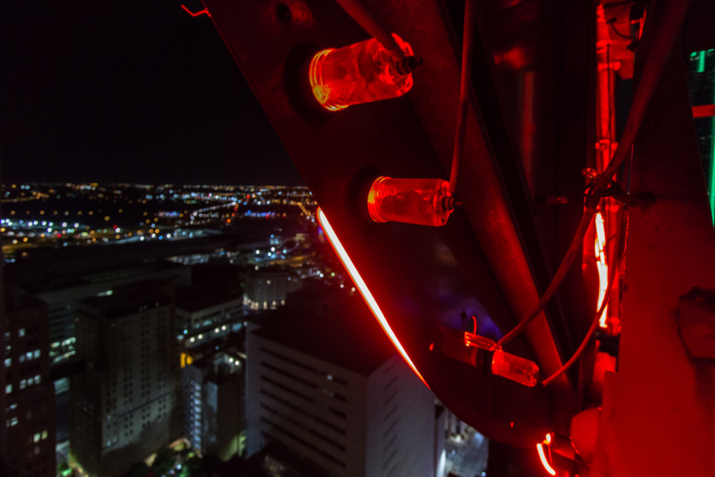 Light plugs in the back of the Pegasus in downtown Dallas