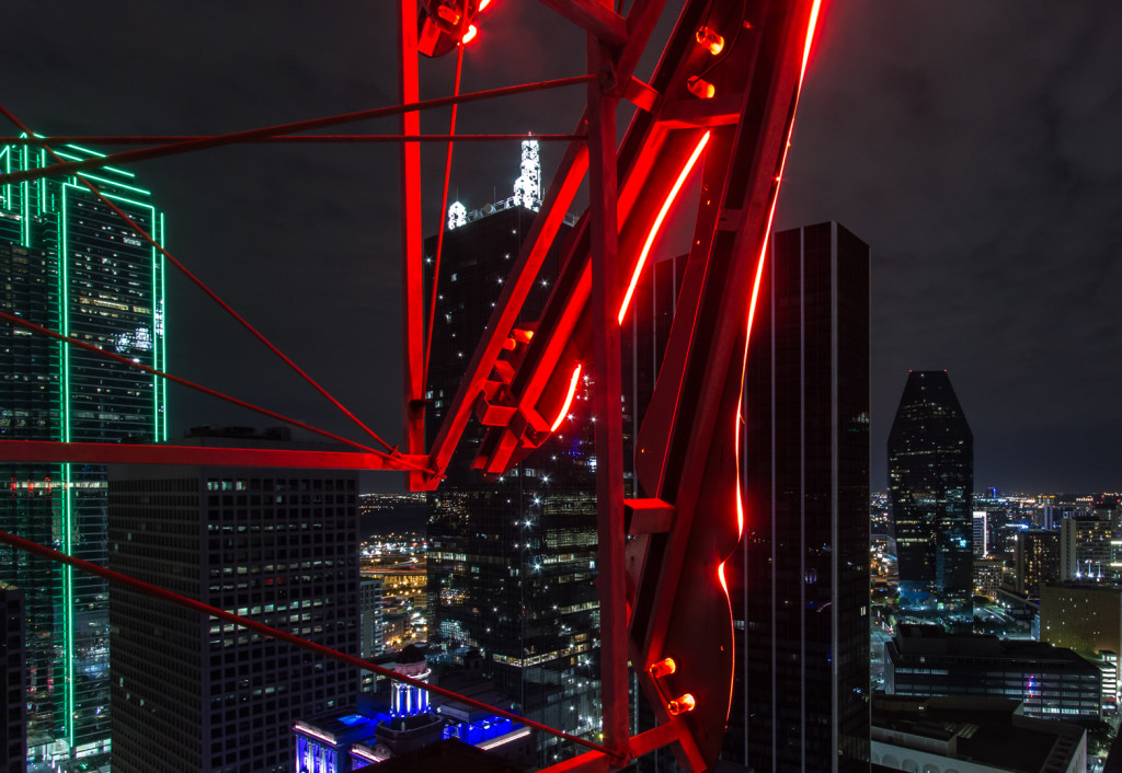 Red Pegasus sign taken while rooftopping in downtown Dallas, Texas