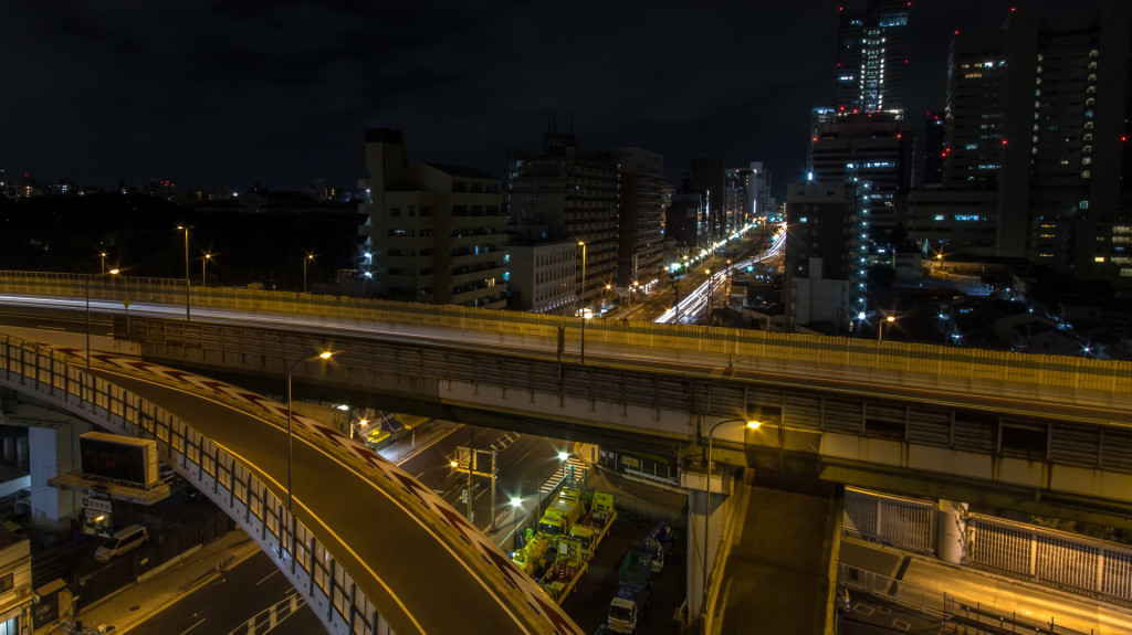 Expressway in Osaka, Japan; taken while rooftopping at night