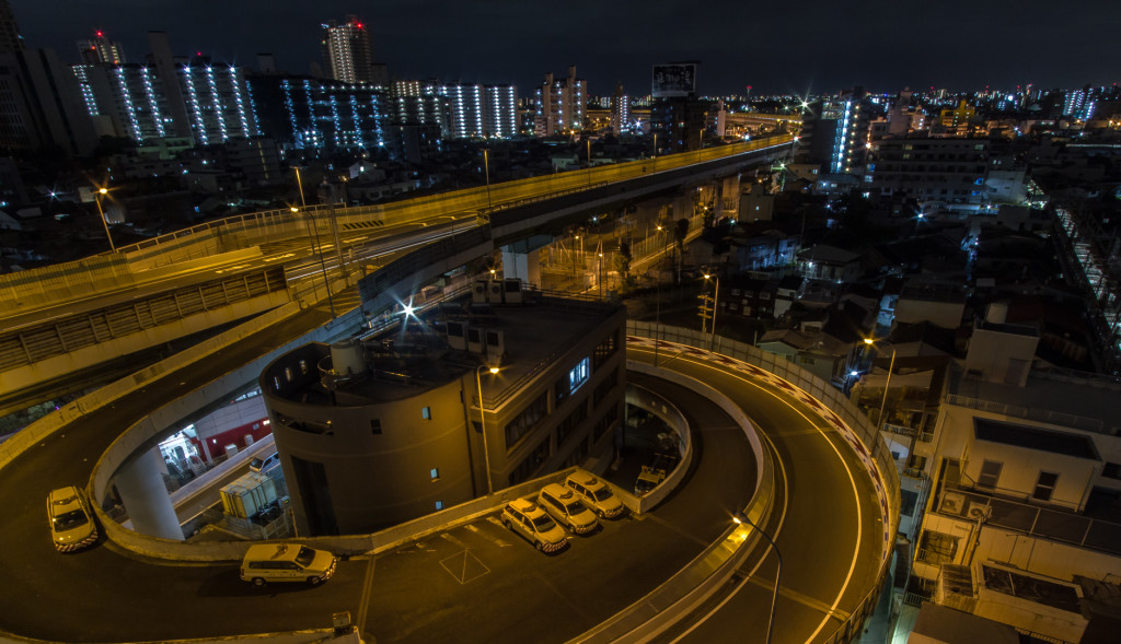 Express way ramp at night, in Osaka, Japan; taken while rooftopping