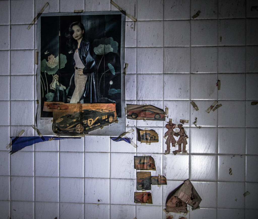 Pictures on a wall in an abandoned slaughterhouse