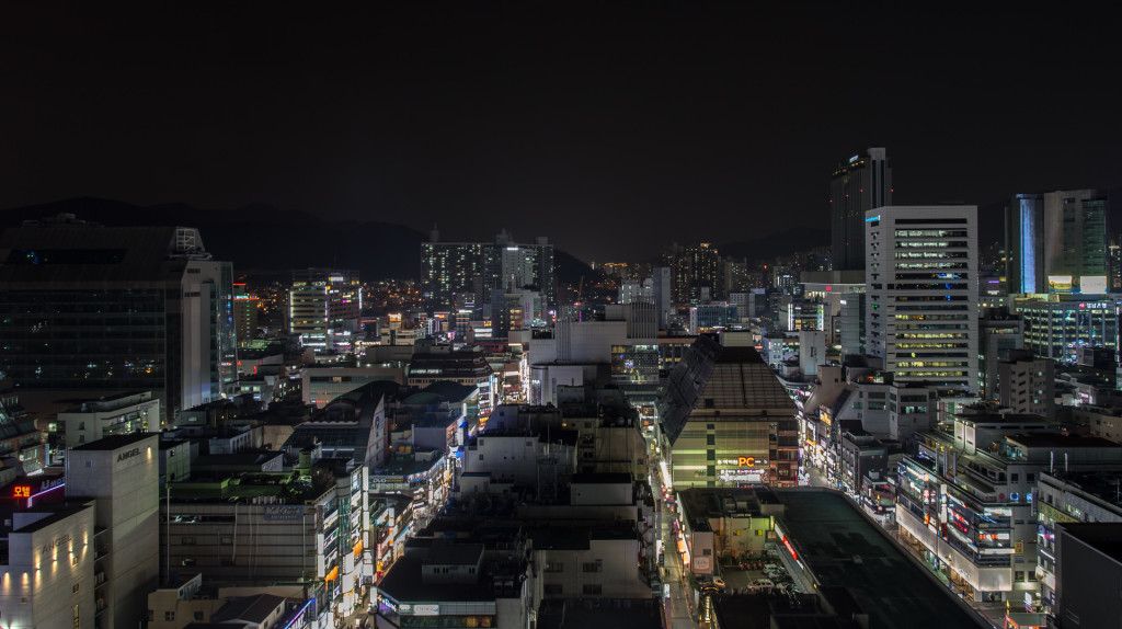 View of Seomyeon at night, image taken while rooftopping in Korea