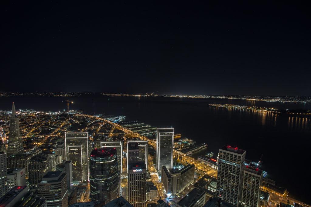 View of the Embarcadero in San Francisco at night