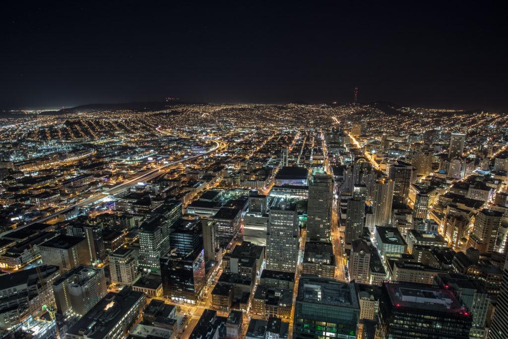 San Francisco at night; SOMA