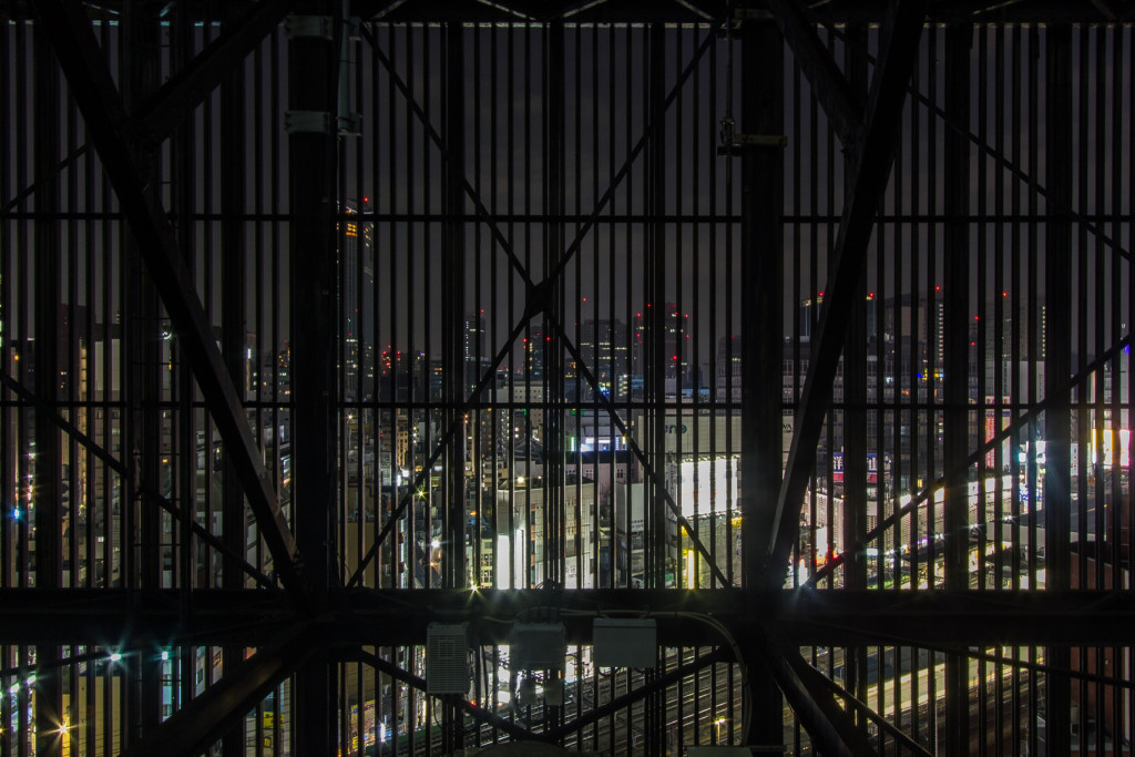 The Shiodome cage, taken while rooftopping in Tokyo, Japan at night