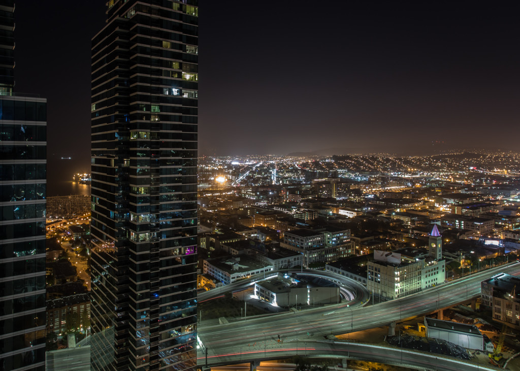 View of San Francisco at night; taken while rooftopping