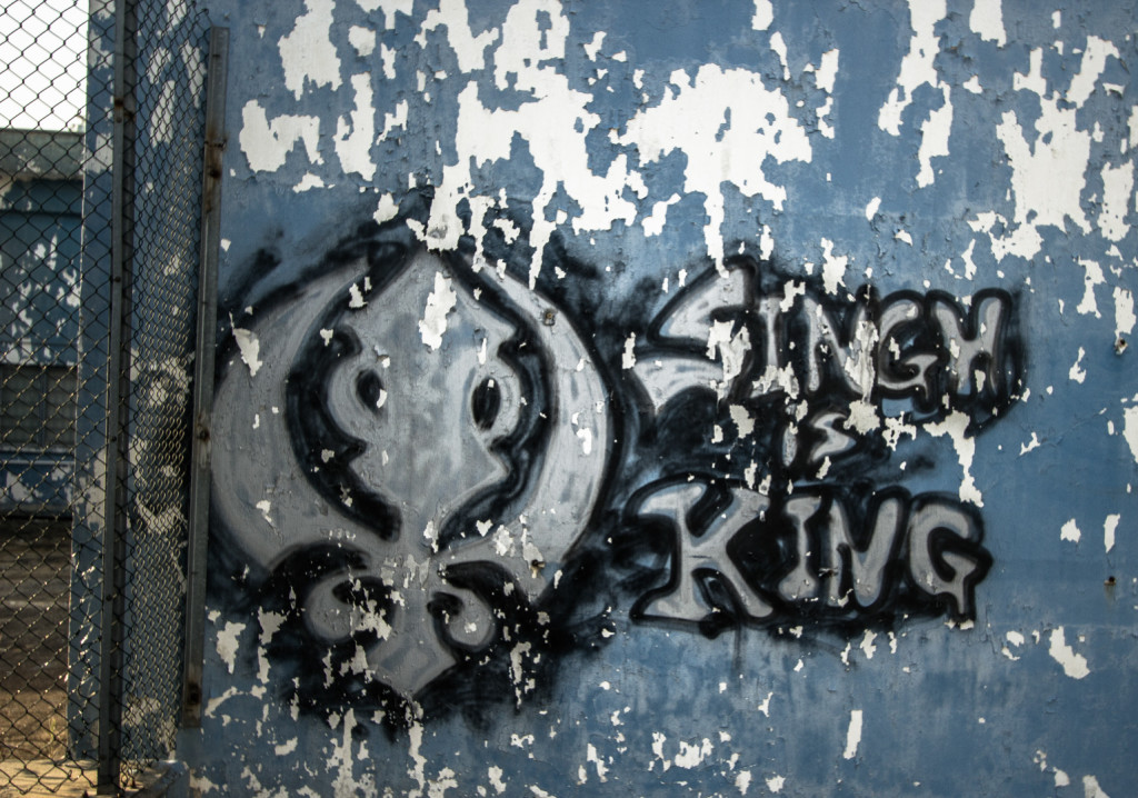 Singh is King graffiti sprayed in an abandoned area in Hong Kong