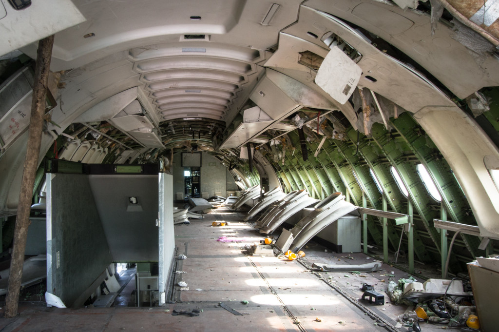 Top deck of an abandoned Boeing 747-400 taken during an urbex in Bangkok, Thailand