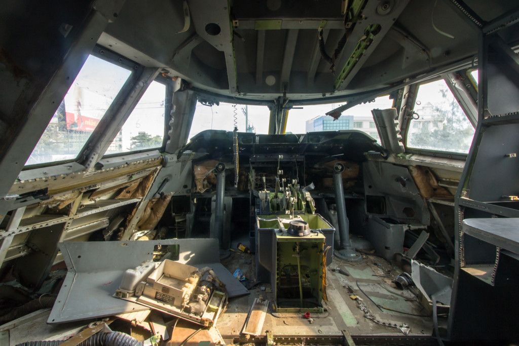 Cockpit of an abandoned 747 plane taken during an urbex in Bangkok, Thailand