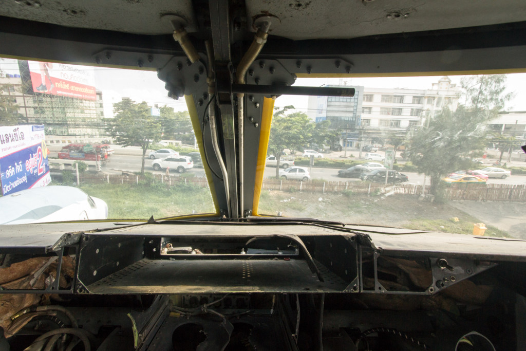 Street view from the cockpit of an abandoned Boeing 747 in Bangkok