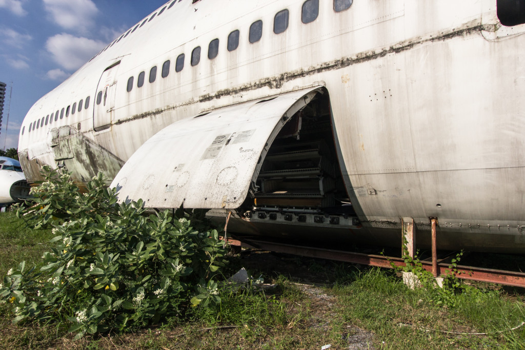 Open hatch to an abandoned 747 airplane in Bangkok, Thailand