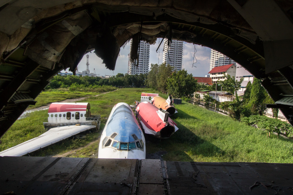 Rear section of an abandoned Boeing 747 in Bangkok, Thailand