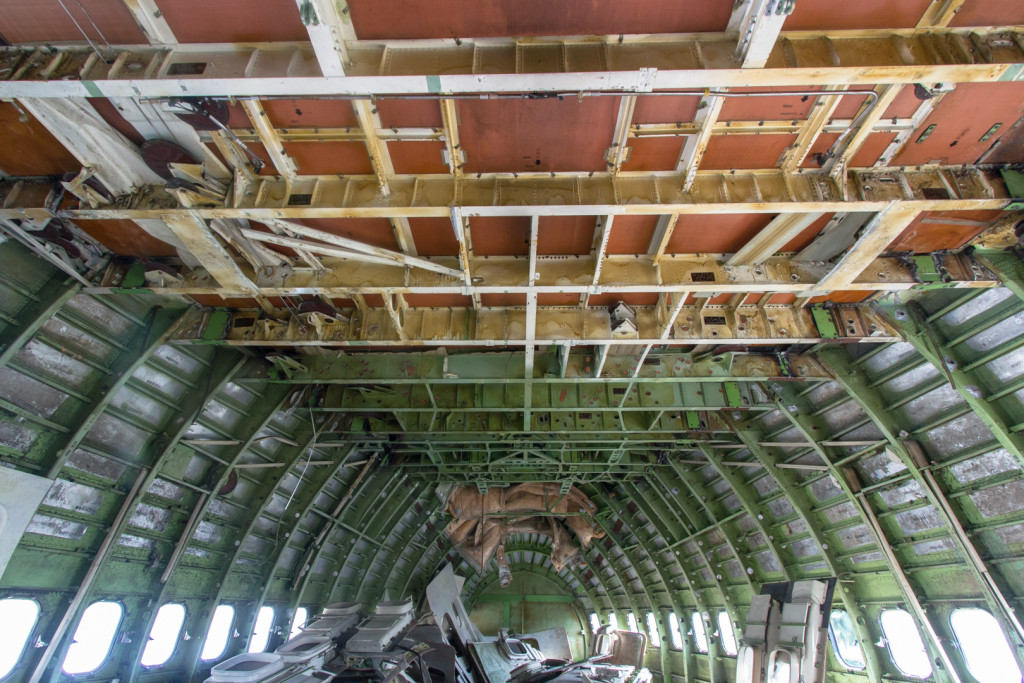 Interior of an abandoned Boeing jumbo jet in Bangkok, Thailand