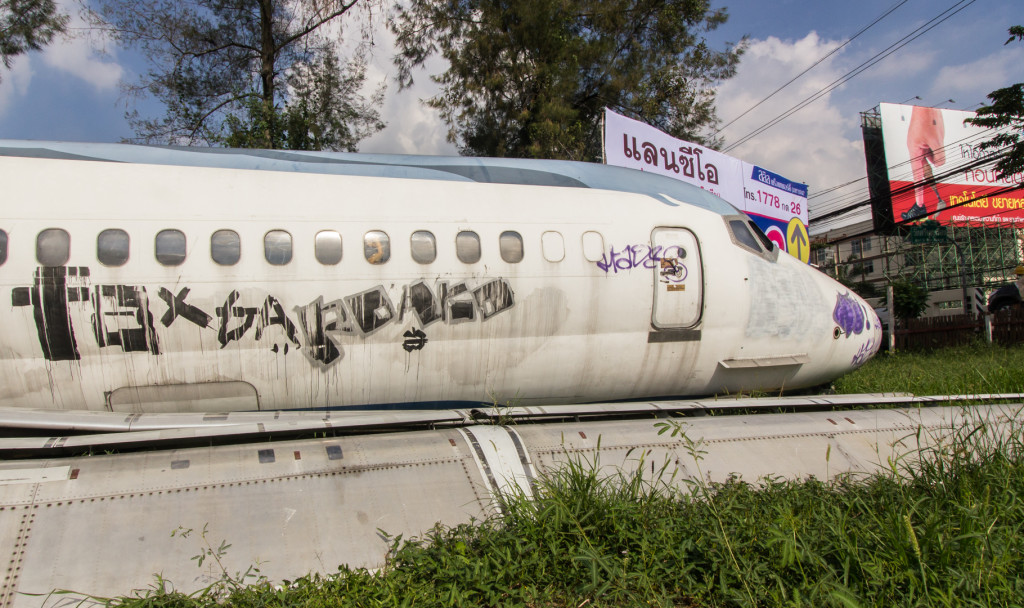 An abandoned MD80 in a field in Bangkok, Thailand