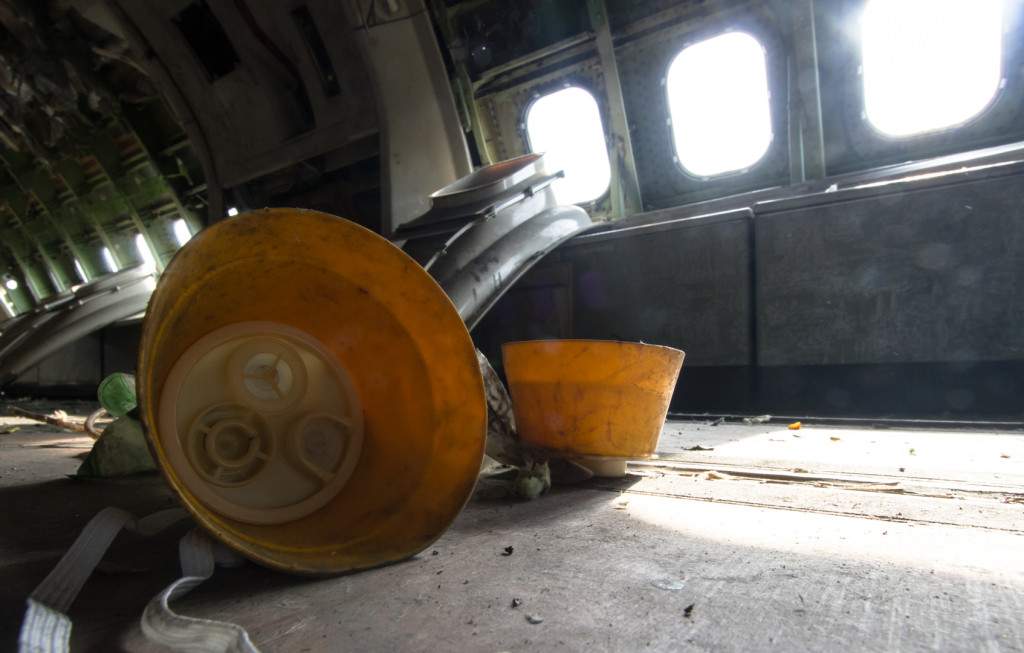 Oxygen mask in an abandoned airplane in Bangkok