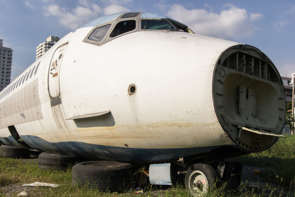 Nose section of an abandoned jet in Bangkok