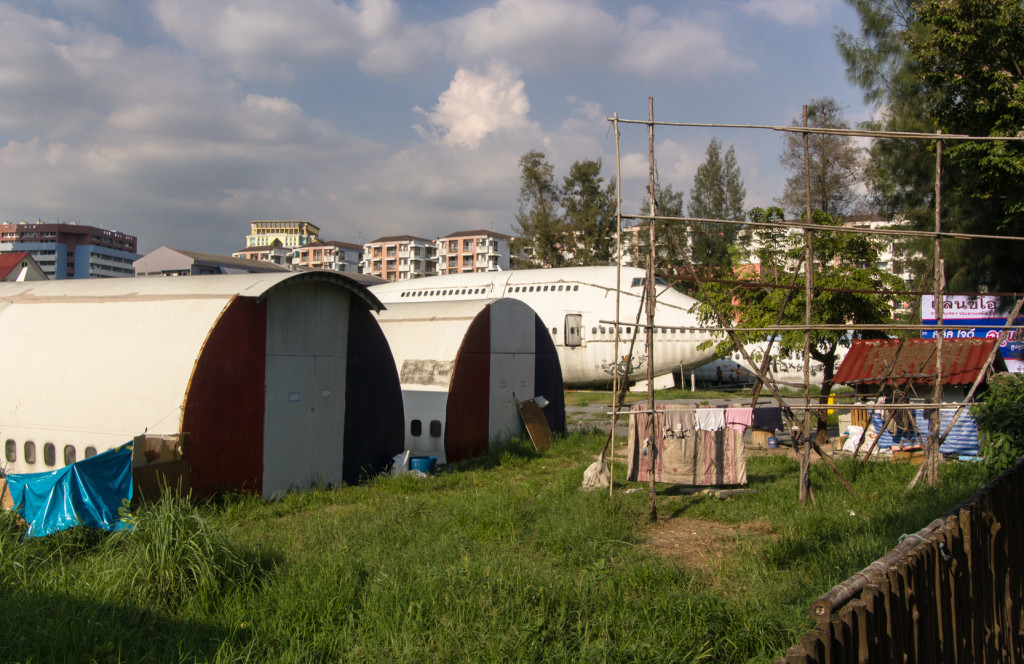 Roadside view, of an abandoned airplane, 747, in Bangkok, Thailand.