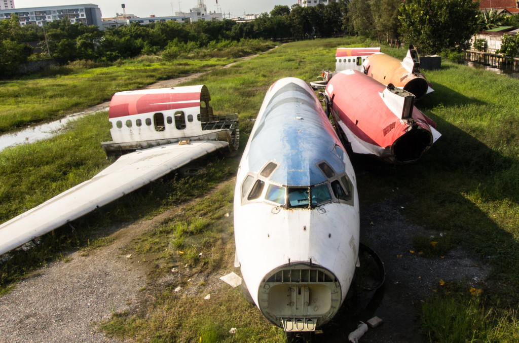 Abandoned planes taken during an urbex in Bangkok, Thailand